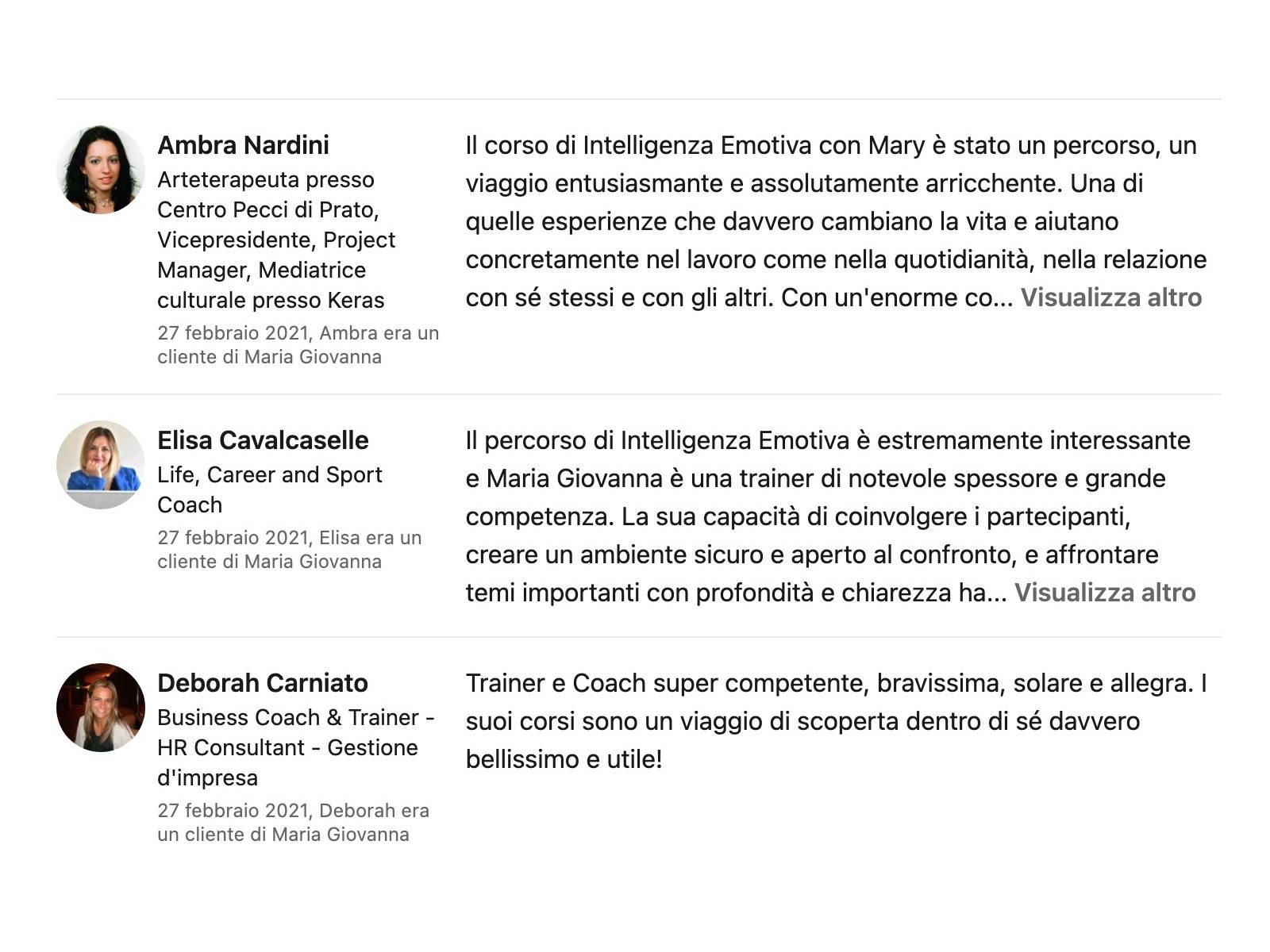 Referenze Corso intelligenza Emotiva   Referenze Corso intelligenza Emotiva